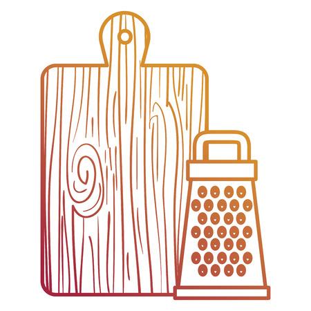 wooden kitchen board with grater vector illustration design Standard-Bild - 104123269