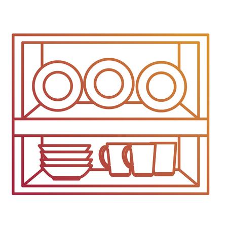 drawer wooden with utensils vector illustration design Illustration