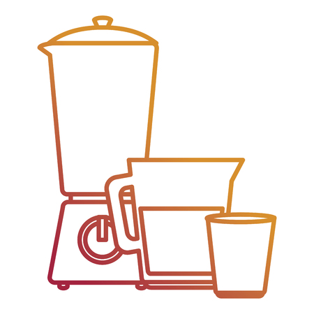 utensil teapot with cup and blender vector illustration design 向量圖像