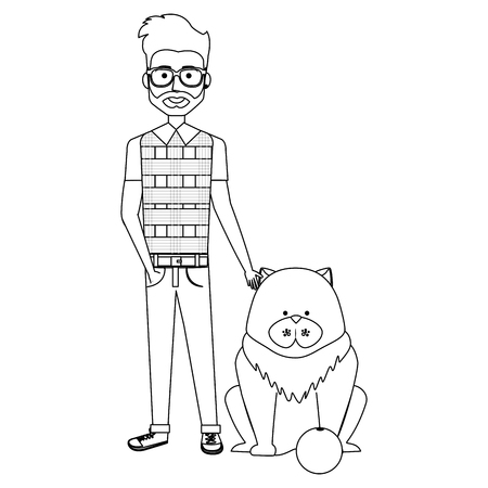 young man with dog and ball vector illustration design Illustration