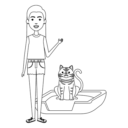 young woman with cat in the bed characters vector illustration design Foto de archivo - 104124967