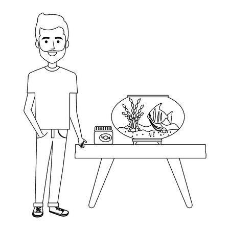 young man with aquarium fish vector illustration design