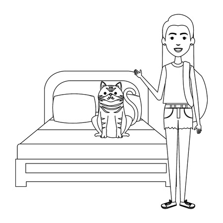 young woman with cat in the bedroom characters vector illustration design Foto de archivo - 104127173