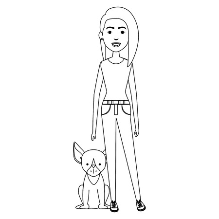 young woman with dog characters vector illustration design 일러스트
