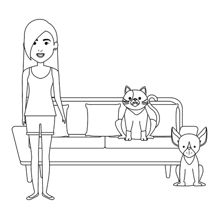 young woman with cat and dog in the sofa characters vector illustration design Stock Vector - 104127179