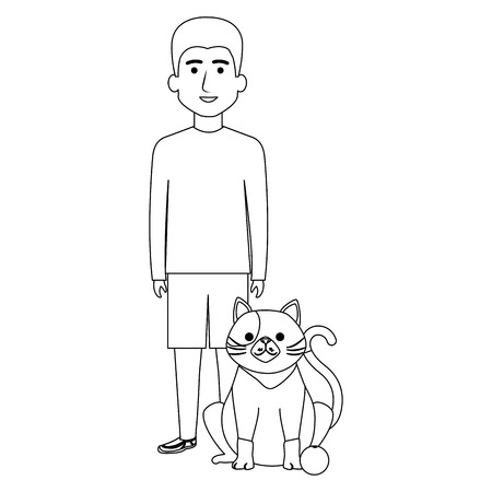 young man with cat and ball vector illustration design