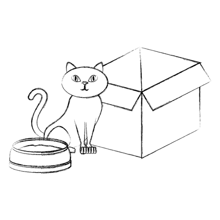 cute cat pet with dish and box character vector illustration design