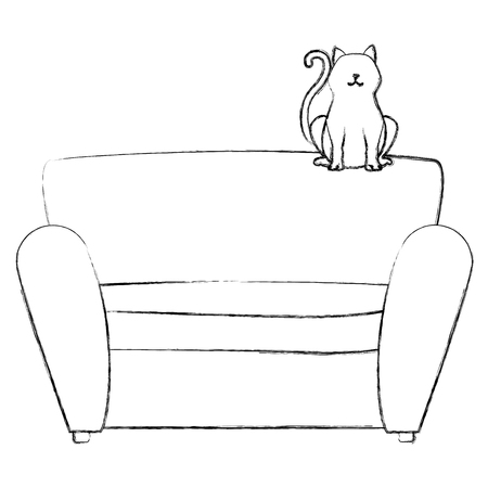 cute cat pet in the sofa character vector illustration design