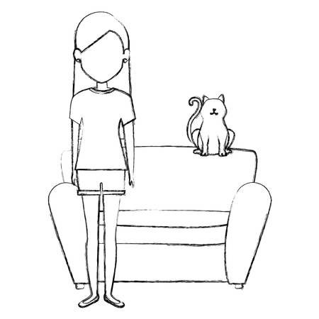 young woman with cat in the sofa characters vector illustration design
