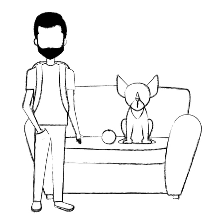 young man with dog in the sofa vector illustration design