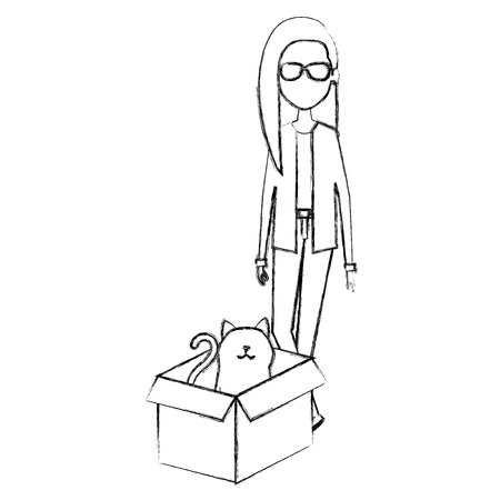 young woman with cat in the box characters vector illustration design