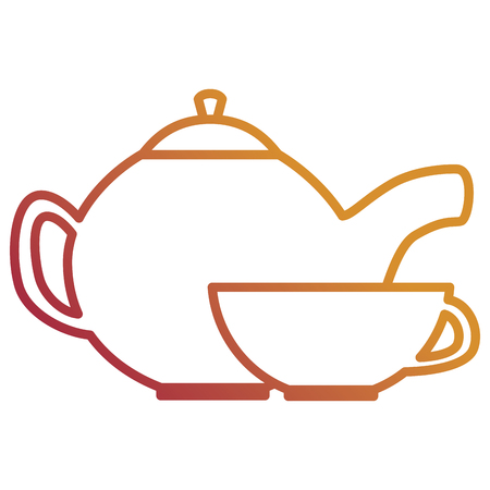 utensil teapot with cup vector illustration design
