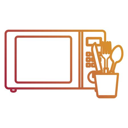 microwave oven with cutleries vector illustration design Ilustração