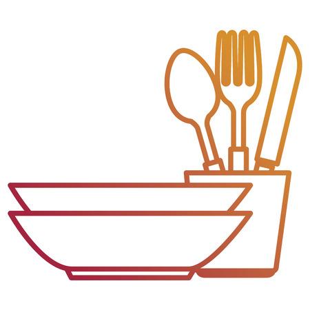 stapel schotel keukengerei vector illustratie ontwerp