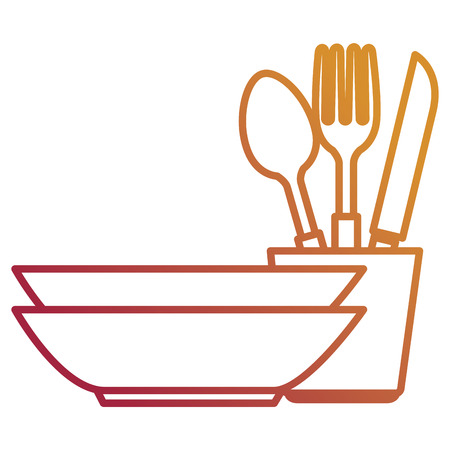 pile dish kitchen utensils vector illustration design