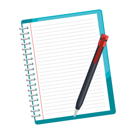 notebook school with pencil vector illustration design