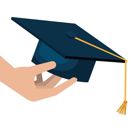 hand with hat graduation vector illustration design Vectores