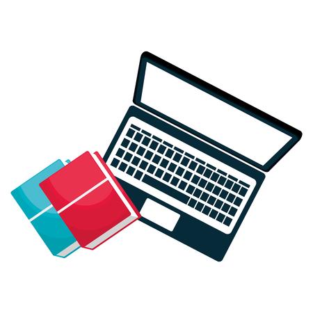 education text books with laptop vector illustration design Banque d'images - 104127234