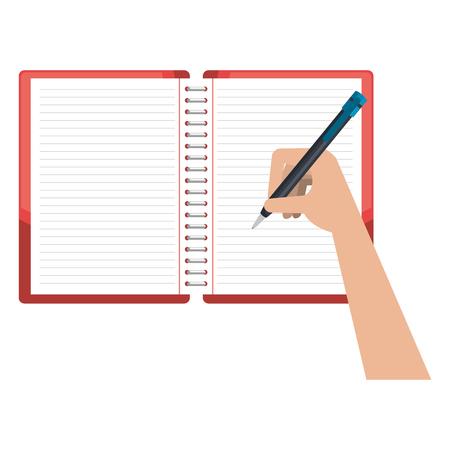 Main qui écrit dans la conception d & # 39; illustration vectorielle cahier école éducation Vecteurs