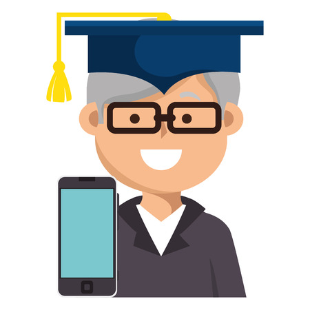 education online with smartphone and graduate vector illustration design