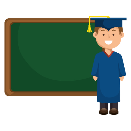 student graduated with chalkboard vector illustration design