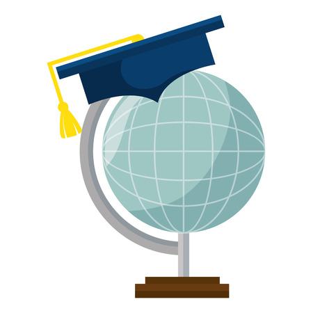 planeet met vector de illustratieontwerp van de afstuderenhoed