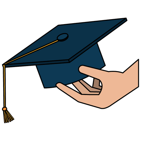 hand with hat graduation vector illustration design Illusztráció