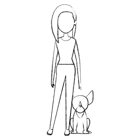 young woman with dog characters vector illustration design Illustration