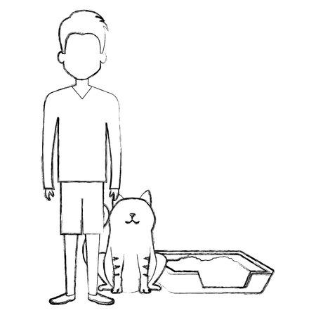 young man with cat and sand box vector illustration design Banco de Imagens - 104127388