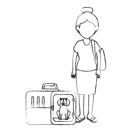 young woman with dog in the transport box characters vector illustration