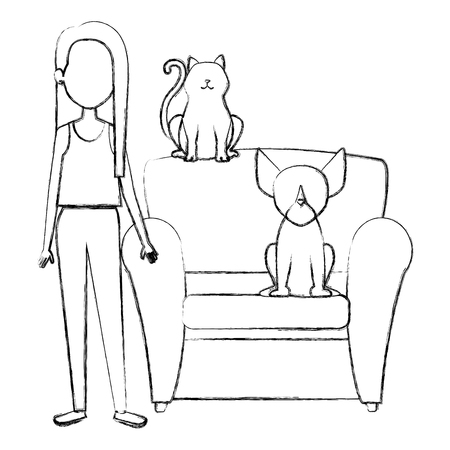 young woman with cat and dog in the sofa characters vector illustration design