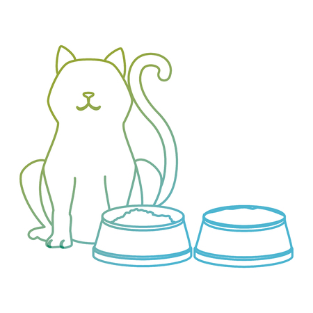 cute cat pet with dish food character vector illustration design