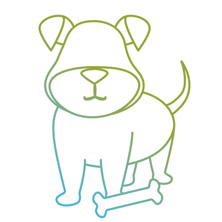 cute dog pet with bone character vector illustration design