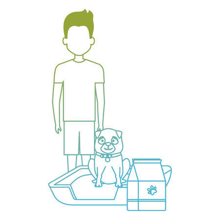 young man with dog and food vector illustration design
