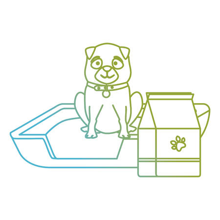 cute dog pet with bed and food character vector illustration design 向量圖像