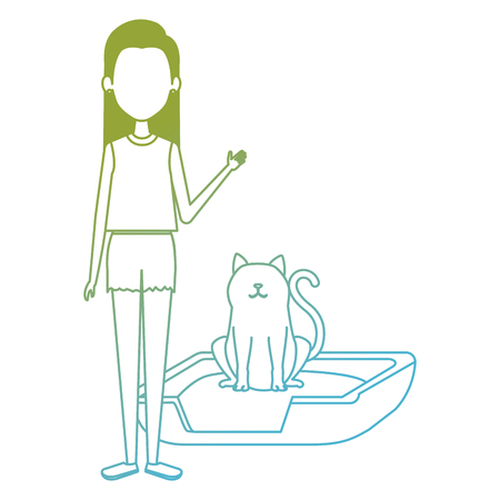 young woman with cat in the bed characters vector illustration design