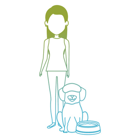 young woman with dog and dish water characters vector illustration design