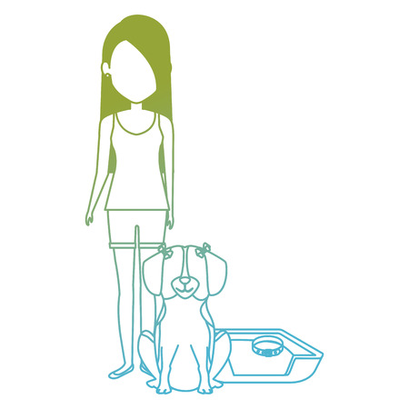 young woman with dog in bed characters vector illustration design