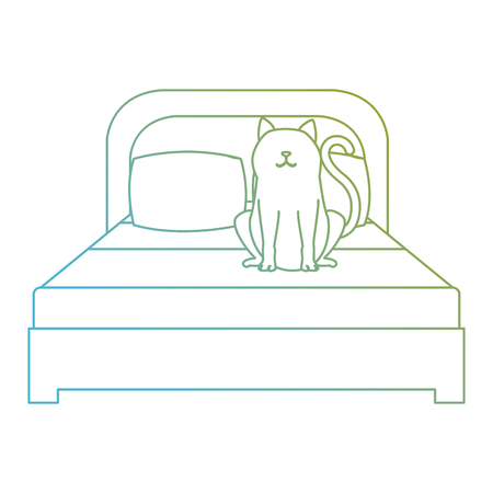 cute cat pet in the bedroom character vector illustration design