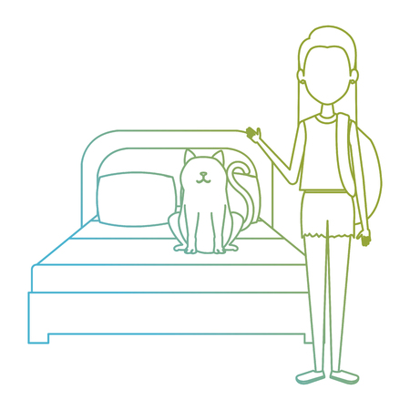 young woman with cat in the bedroom characters vector illustration design Foto de archivo - 104127704