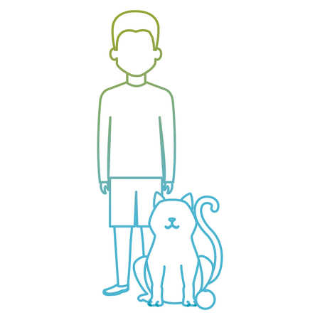 young man with cat and ball vector illustration design 스톡 콘텐츠 - 104127717