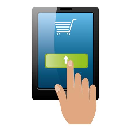 tablet with buy online app vector illustration design Illustration