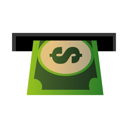 hole machine with bill dollar vector illustration design