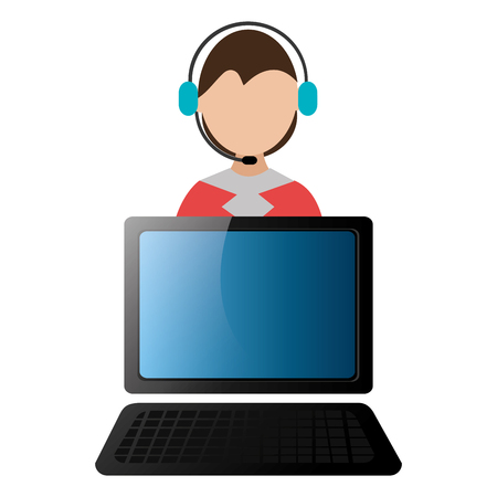 worker with headset and laptop vector illustration design