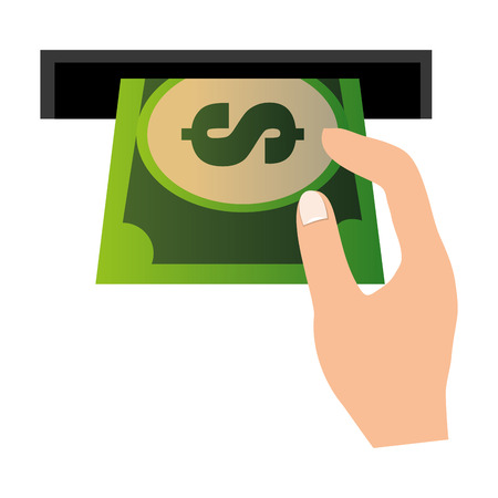 hole machine with bill dollar and hand vector illustration design Illustration