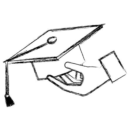 hand with hat graduation vector illustration design Illustration