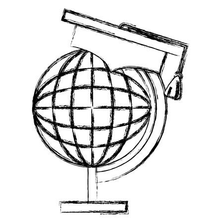 planet with graduation hat vector illustration design Illustration