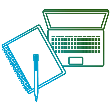 education online with laptop and notebook vector illustration design