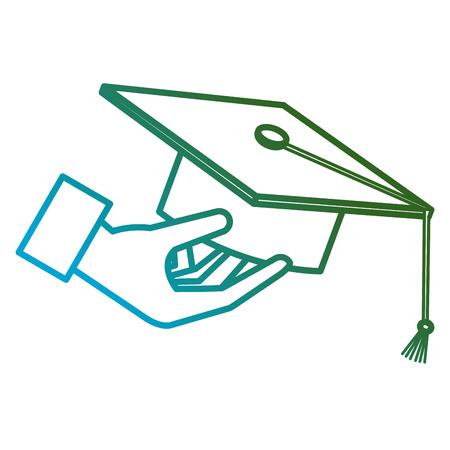 hand with hat graduation vector illustration design Ilustração