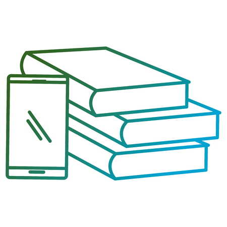 education text books with smartphone vector illustration design